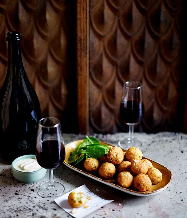 Australian Gourmet Traveller recipe for beignets of spanner crab.