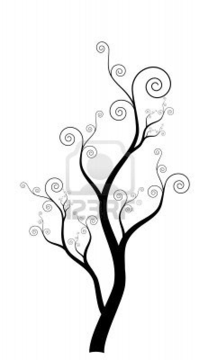 Swirly abstrakter Baum Silhouette Design-Element Stockfoto - 15701136