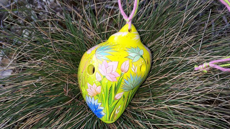 Yellow shell - sunny day. Ceramic Ocarina. Pendant - talisman. by Jivizvuk on Etsy