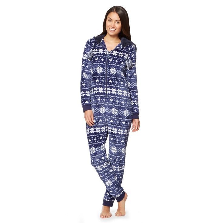This luxe supersoft velour fleece onesie from our exclusive Lounge and Sleep range features a pretty snowflake print in navy and a luxurious lined hood with a zip front fastening.