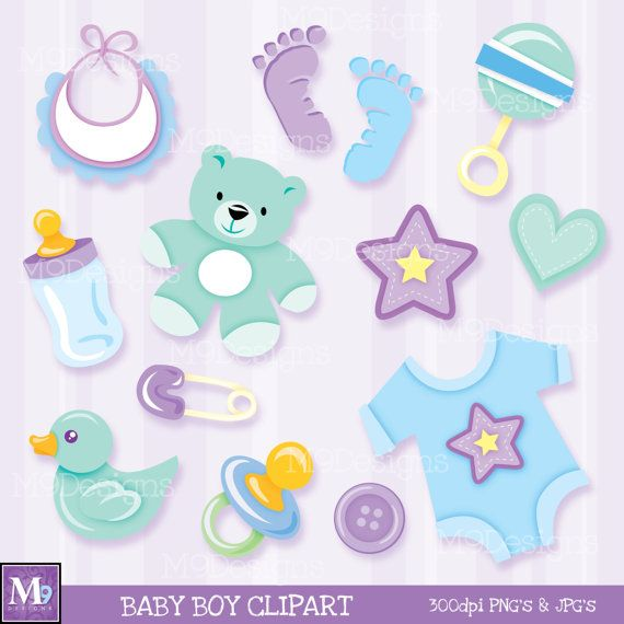 BABY BOY Clipart Vector Clip Art Illustrations by MNINEDESIGNS