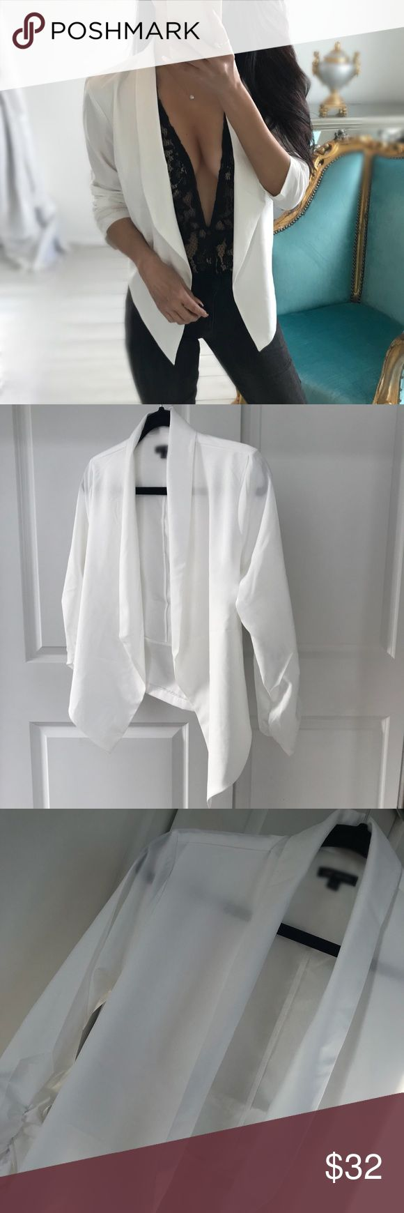 "🆕 LAST 2 ""BENTLEY"" Simple Chic Blazer White ✨One of my faves😌💕 A simple chic style blazer that is thin and not stuffy or thick. Open style, ruched 3/4 sleeve. Refreshing crisp white. Throw it on over any Bodysuit or tank👌✨ *Comes in black too.    🔒Price is firm 📸Modeling tag size: S •Measurements for M: 17.75"" chest/ 25.5"" longest point of front hem/ 21"" back hem •Material: 94 polyester 6 spandex • Tip: True to size with nice loose fit  👉 For convenient checkout, purchase directly…"