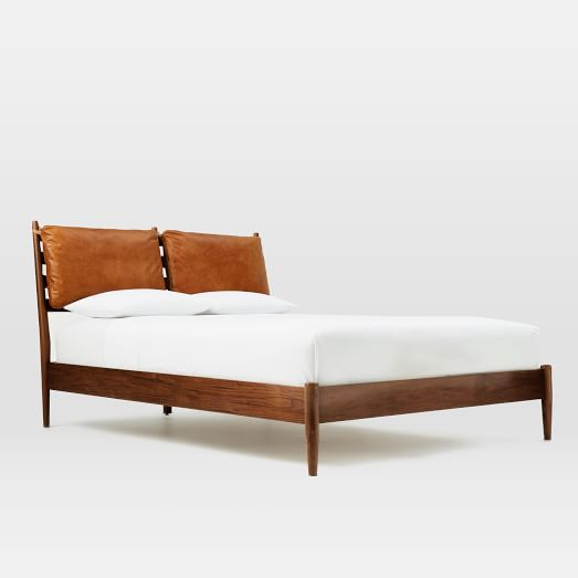 Arne Bed + Leather Cushions | west elm