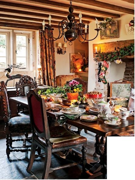 English Cottage Dining Room At Christmas
