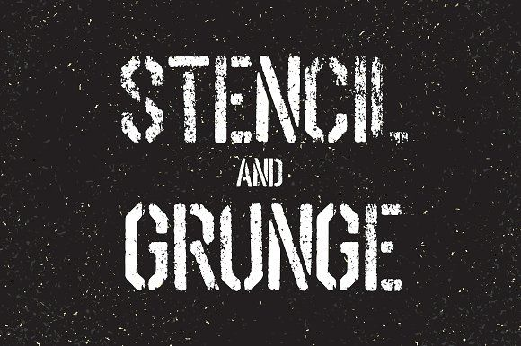 Stencil font and grunge textures set by pashabo on @creativemarket