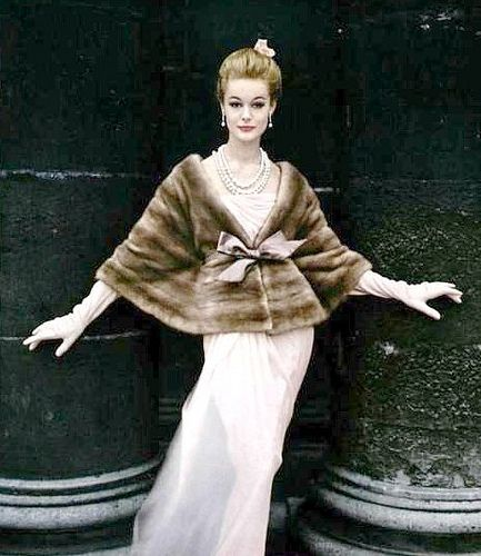 Monique Chevalier in a natural Emba mink jacket by Marron Fourrures, photo by Virginia Thoren 1958