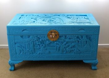 Amazing Vintage Carved Camphor Upstyled Chest