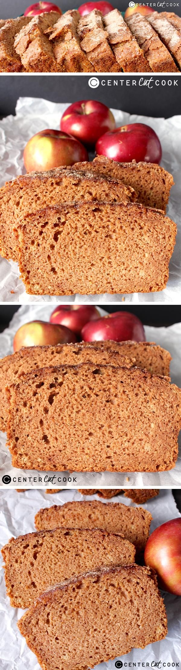 This CINNAMON APPLE BREAD is made with applesauce which keeps it super moist, has the best crackly cinnamon sugar topping, and is so easy to make. This quick bread is so delicious!