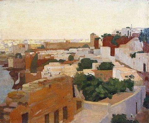 Peinture Maroc - Vue de Rabat von Etienne Bouchaud