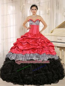 Exquite Sweetheart Ruffles Quinceanera Dress in Watermelon and Black