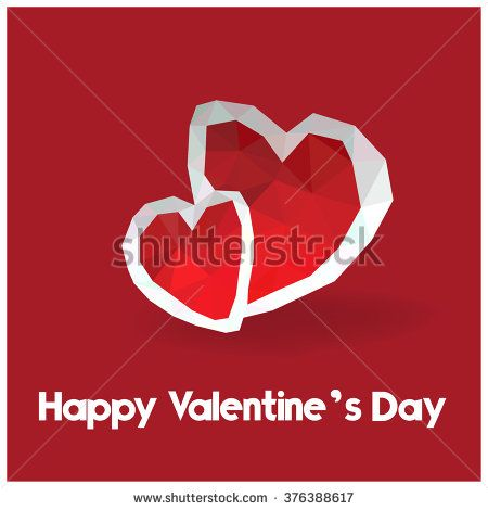Valentine, Card, Background, Low Poly, Red - stock vector