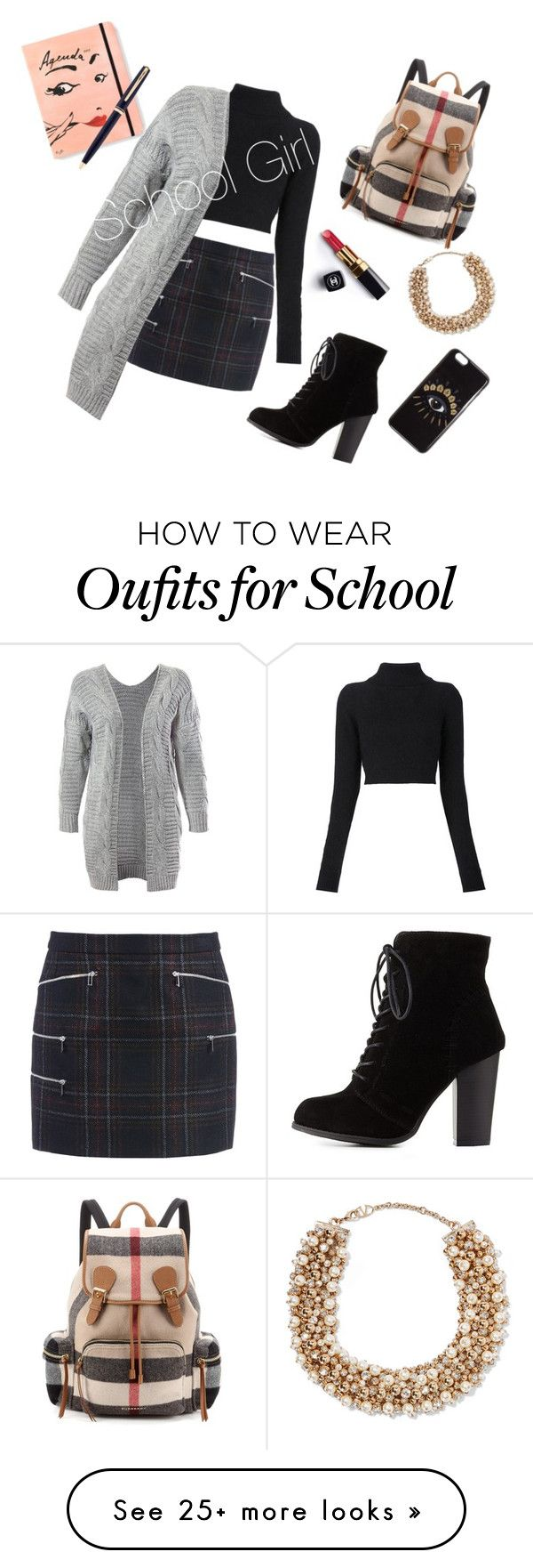 """ School Girl "" by roseblossom23 on Polyvore featuring Barbara Bui, Balmain, Sans Souci, Chanel, Charlotte Russe, Burberry, Valentino, Kenzo, Kate Spade and Montblanc"