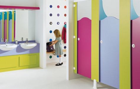 Wow fancy pre school...Gensis Line of washroom cubicles by Venesta