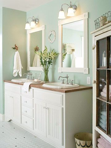 Bathroom With Furniture Style Double Vanity And Great Colors   Love The  Vintage Character!