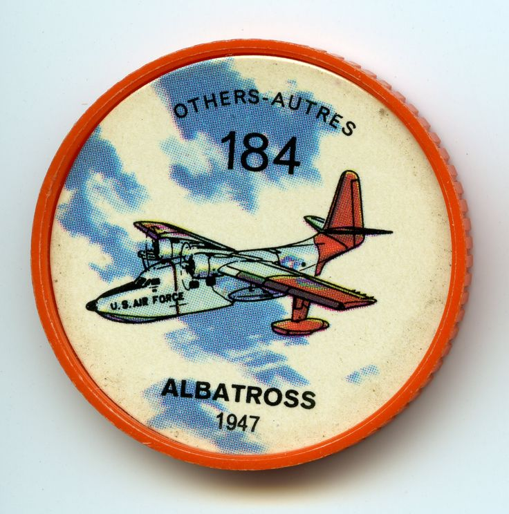 Jell-O Coin 184 - Albatross (1947) - The RCAF's newest jack-of-all-trades is the Grumman SA-16 Albatross amphibian. The type is suitable for search and rescue missions, freighting and photo reconnaissance. It can also double on coastal patrol or be converted to an aerial ambulance. The U.S. Albatross was credited with saving the lives of more than 900 Allied servicemen during the Korean conflict. Specifications; Wingspan 96 feet, 6 inches. Length 62 feet, 4 inches. Weight 32,000 pounds.