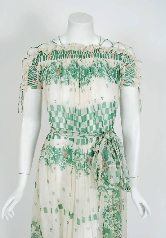 1968 Ossie Clark Couture Silk-Crepe Celia Birtwell Print Lace-Up Belted Dress image 2