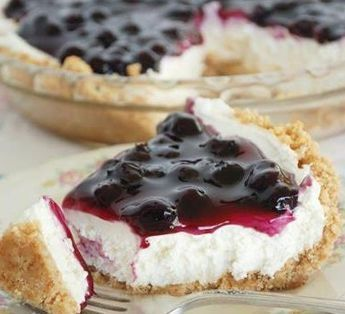 NO BAKE BLUEBERRY CHEESECAKE SO EASY AND GOOD! Ingredients: 8 oz. cream cheese, softened 1 cup confectioners sugar 1 tsp. vanilla 8 oz. cool whip, thawed 10 oz. blueberry or cherry pie filling For the Crust: Keebler Graham crust  Directions: For the filling, beat together the cream cheese, sugar and vanilla. Fold in the cool whip - make sure thoroughly combined. Spoon filling into prepared pie crust. Spread topping on filling.Refrigerate for 2 hours or until chilled. Slice, serve & enjoy!