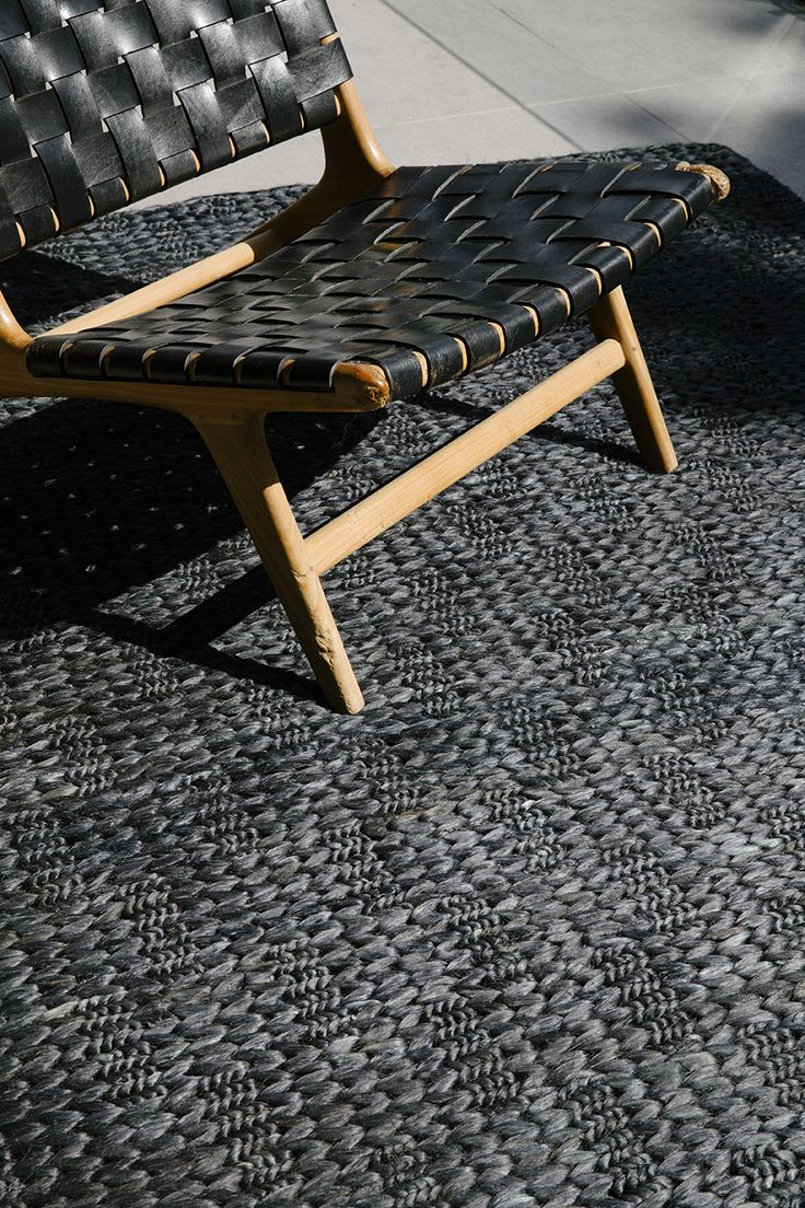 NODI Double Braid brushed jute rug in Midnight Grey.