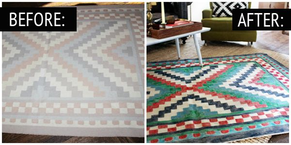 Painted Rug Before and After-- a great way too fix my cheap throw rugs that faded when I washed them! Just go over design with fabric paints!
