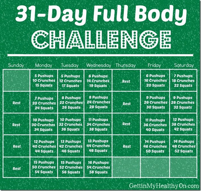 31-Day Full Body #Workout Challenge for #December | gettinmyhealthyon.com