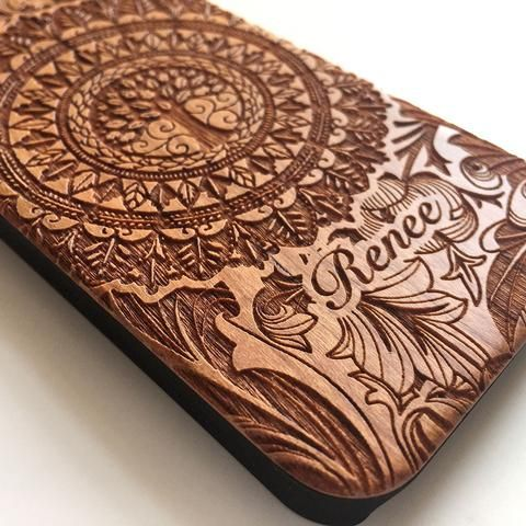 Floral tree personalised real wood engraved iPhone case - Decouart - 1