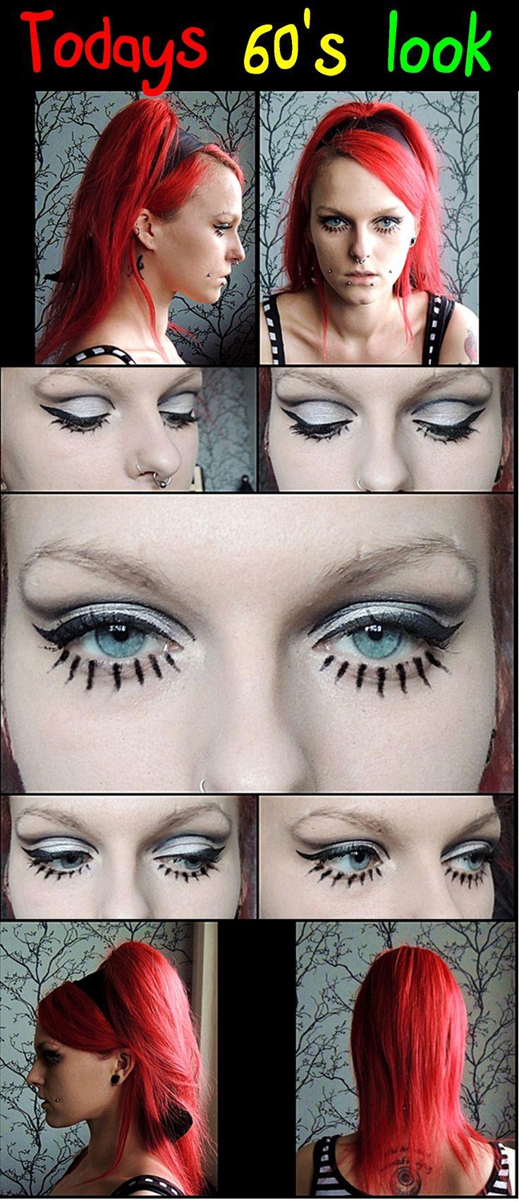 Dark, piercing, tattoo, Make up, weird, crazy,  redhead, red, black, 60's, hair, hair due, lashes, stripes, portrait, profile, neck, bones, color, eyes, branches, white