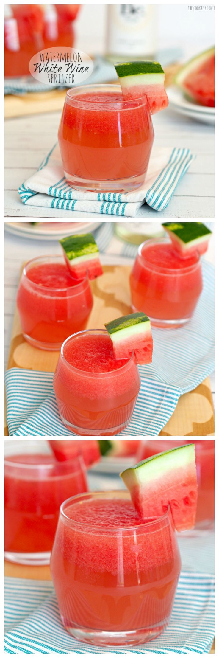 Watermelon White Wine Spritzer! Yum! I'm prolonging Summer with this easy cocktail.  SO GOOD! - The Cookie Rookie