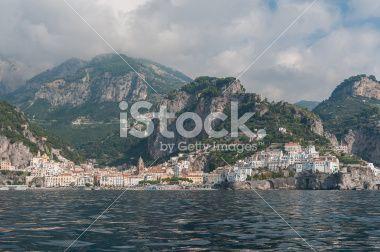 Panoramic View of Amalfi, Costiera Amalfitana, Italy Royalty Free Stock Photo