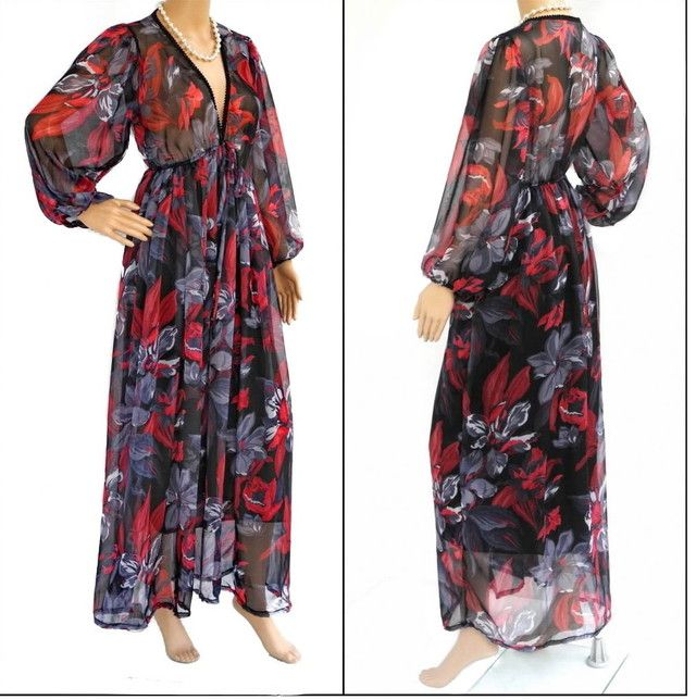 Sexy Black Red Floral Chiffon Dress,Plus Size