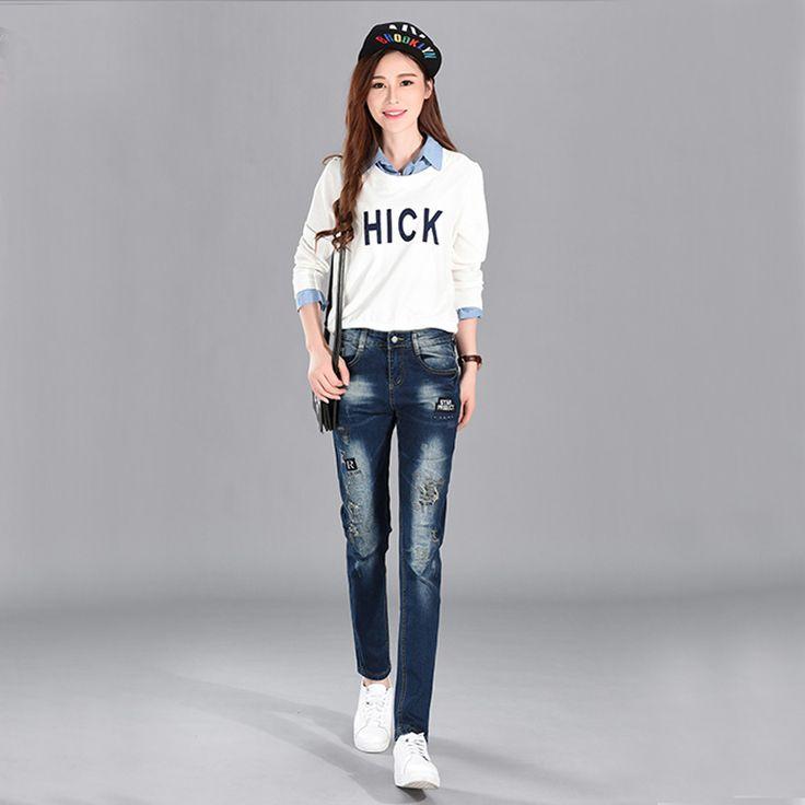 2017 Spring  High waist stretch jeans female pencil pants Korean women Fashion Casual Women Slim Jeans all-match 2016 Appliques