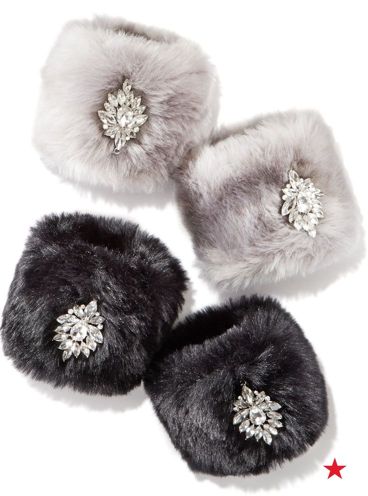 A fancy finishing touch for her winter wardrobe, INC International faux fur cuffs will have her feeling warm and fuzzy.