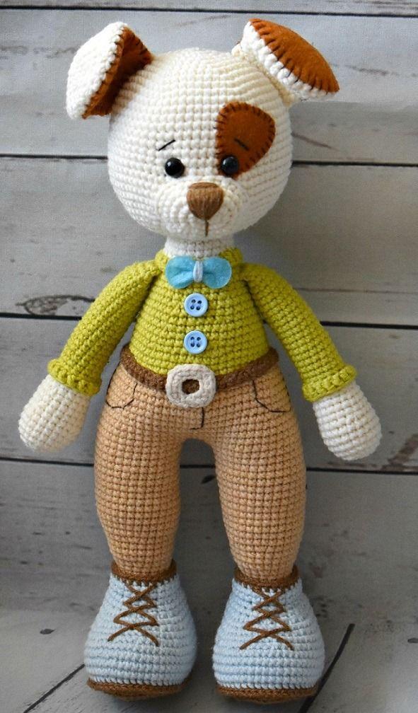 Вязаный щенок амигуруми мастер-класс игрушки крючком