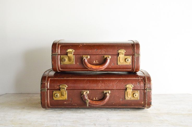 luggage set, suitcases, old luggage, rust brown leather exteriors w/ gorgeous tweed interiors, hard case luggage set, vintage, 2 piece set by littlecows on Etsy