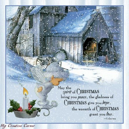 Grote animatie van sneeuw - May the spirit of Christmas bring you peace, the gladness of Christmas give you hope, the warmth of Christmas grant you love