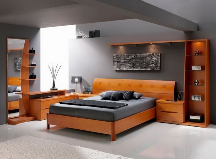 contemporary bedroom with curved wood bookshelves and curved headboard