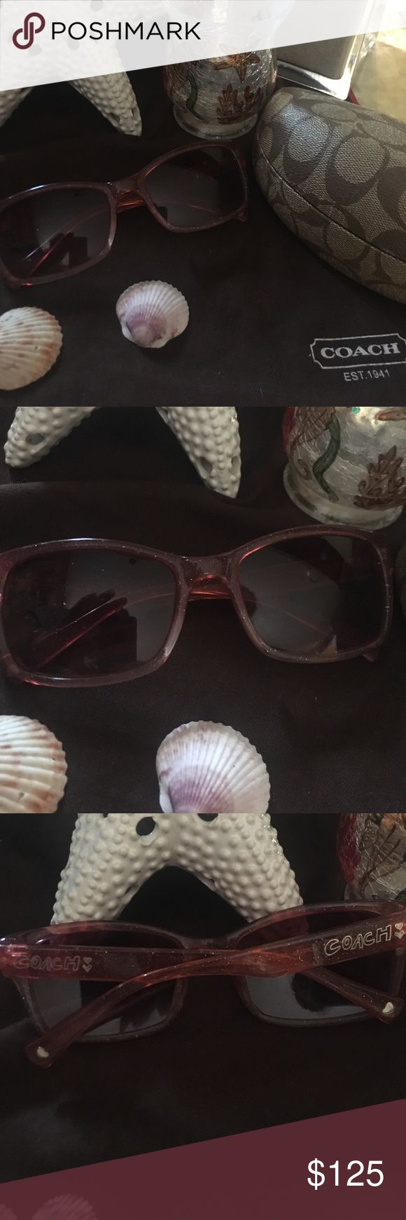 Coach Poppy Pink Sunglasses / sunnies Coach Poppy sunnies.   Gorgeous pink.  Arms have coach spelled out and little hearts on the bottom of the arms. ♥️❤️.  Price is firm.   I will be happy to keep these❤️.  Comes with hardshell case and cleaning cloth. Coach Accessories Sunglasses