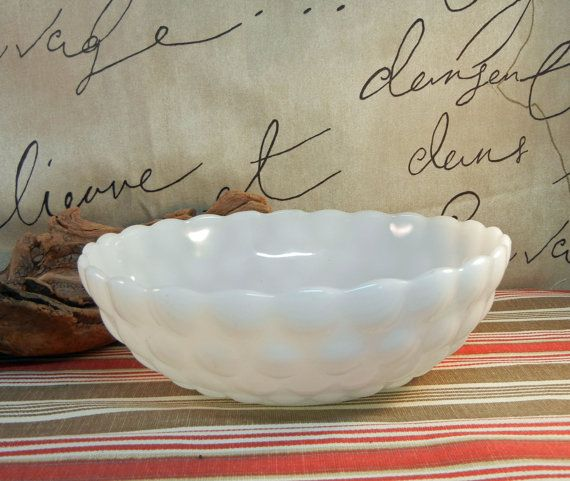 Vintage Milkglass Bubble Bowl v167 by DandelionLaneVintage on Etsy, $12.00