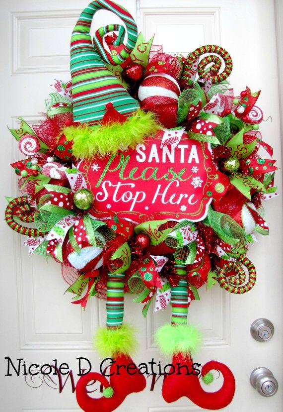 christmas wreath holiday wreath deco mesh by nicoledcreations