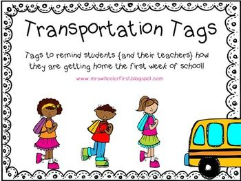 Ah, the first day of school.  It all goes so smoothly except for...THE END OF THE DAY!  You can't remember who was going home on a bus, car, or walking.  You have scribbled sticky notes everywhere and can't read your writing.  Chaos.  These transportation tags will help you feel confident about sending your kids home THE CORRECT WAY on the first few days of school!  Tags include: bus, walker, car, after-school program, and daycare.  Color and B/W versions included.