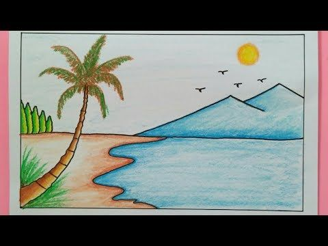 Cara Menggambar Pemandangan Pantai How To Draw A Scenery Of Sea Beach Youtube Gambar Lanskap Painting Pemandangan