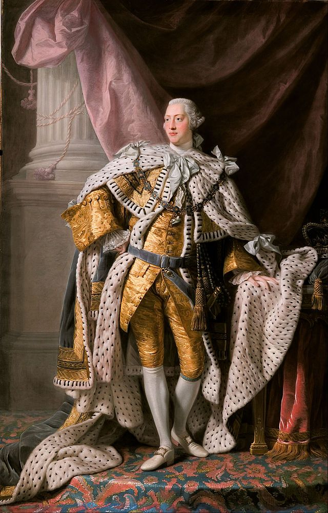 Portrait by Allan Ramsay, 1762 - George III (1738 - 1820) was King of Great Britain & Ireland from 25 October 1760 until the union of the two countries on 1 January 1801, after which he was King of the United Kingdom of Great Britain & Ireland until his death. He was promoted to King of Hanover on 12 October 1814. He was the third British monarch of the House of Hanover, but unlike his two predecessors he was born in Britain, spoke English as his first language, & never visited Hanover.