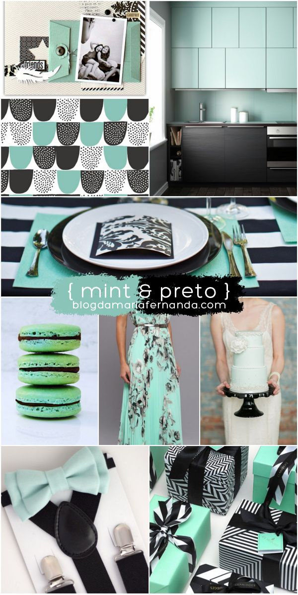 Paleta de Cores Decoração de Casamento Mint and Preto | Wedding Color Palette Inspiration Board Mint and Black http://marionstclaire.com/paleta-de-cores-mint-preto