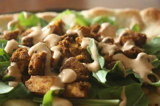 Vegan Shawarma Tofu and Sriracha Sauce