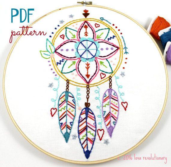 El cazador de sueños mano bordado PDF patrón Boho Indian Summer