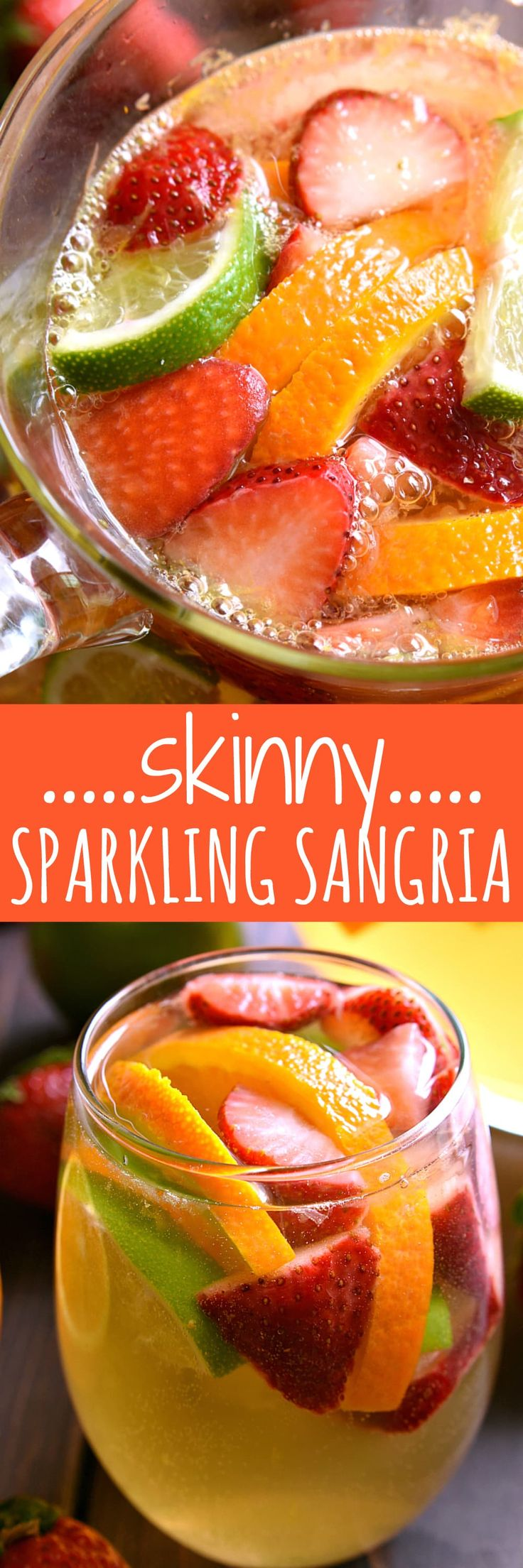 This Skinny Sparkling Sangria is the ULTIMATE summer cocktail! Loaded with fruit and packed with flavor, this sparkling sangria is sweet, refreshing, and perfect for summer! #zingonthego #ad @zingstevia