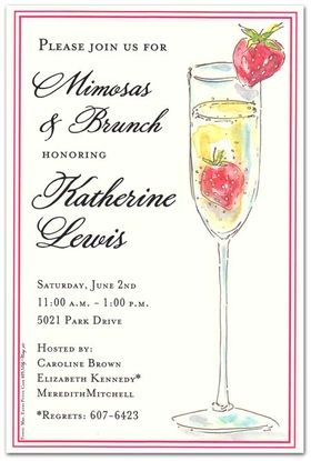 DISCONTINUEDPerfect for a ladies luncheon or a bridal brunch.  This simple and elegant invitation is designed with a mimosa on the front that is decorated with a strawberry on top and has a red simple border.  Includes a cream envelope.