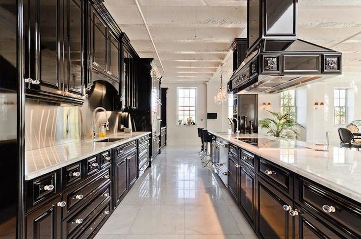Pricey pads contemporary galley kitchen with white wood for Black and white galley kitchen