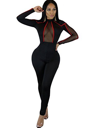 f3ed8e6b1a8 GenericWomen Women Sexy Sheer Mesh Lace Bodycon Bandage Jumpsuit Clubwear  Rompers with Long Sleeve