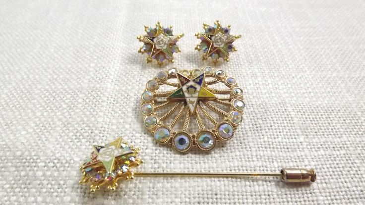 Vintage Order of the Eastern Star Brooch Earrings and Stick Pin Set Aurora Borealis Rhinestones 1950s Service Club Memorabilia by OutrageousVintagious on Etsy