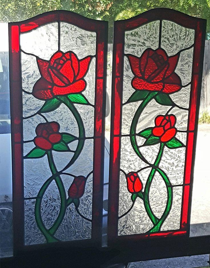 Roses in Cabinet Doors